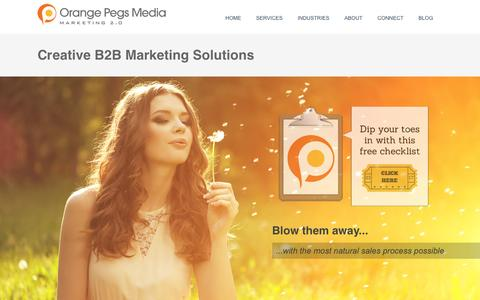 Screenshot of Services Page orangepegs.com - B2B Creative Marketing Solutions - captured Feb. 14, 2016