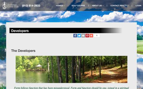 Screenshot of Developers Page andersoncreekclub.com - Developers -                                       Anderson Creek Realty  at Anderson Creek Realty - captured Oct. 3, 2018