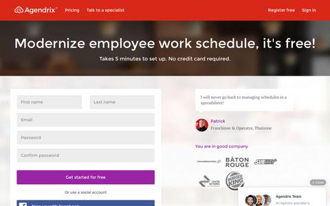 Screenshot of Signup Page agendrix.com - Modernize employee work schedule, it's free! — Agendrix - captured July 25, 2016