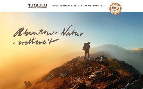 Screenshot of Home Page trails-reisen.de - Trails Wanderreisen Erlebnisreisen Abenteuerreisen Trekkingreisen - captured March 29, 2017