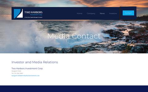 Screenshot of Press Page twoharborsinvestment.com - Media Contact – Two Harbors Investment Corp. - captured Oct. 19, 2018