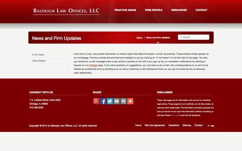 Screenshot of Press Page balough.com - News and Firm Updates | Balough Law Offices, LLC - captured Oct. 5, 2014