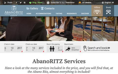 Screenshot of Services Page hotelabanoritz.com - Services AbanoRITZ SPA Hotel - RitzVITAL e RitzLIFE - captured Oct. 7, 2017