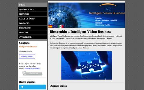 Screenshot of Home Page ivb.com.mx - Bienvenido a Intelligent Vision Business - captured Oct. 6, 2014