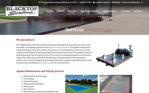 Screenshot of Services Page mik-a-seal.com - Asphalt Repair Services | Black Top Sealing | Allentown PA - captured Oct. 9, 2017