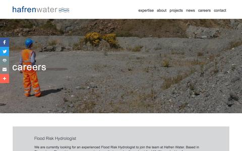 Screenshot of Jobs Page hafrenwater.com - Careers | Hafren Water - captured July 15, 2018