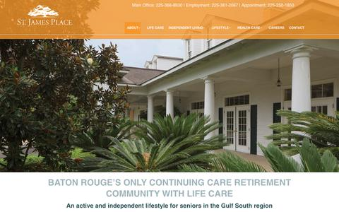 Screenshot of About Page stjamesplace.org - About | St. James Place | A Life Care Community in Baton Rouge, LA - captured Nov. 16, 2018