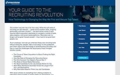 Screenshot of Landing Page cornerstoneondemand.com - CSOD   Your Guide to the Recruiting Revolution - captured Sept. 19, 2018