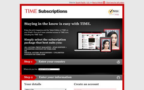 Screenshot of Landing Page time.com - TIME Asia subscription - captured Feb. 1, 2017