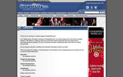 Screenshot of Jobs Page gospelcity.com - Gospel Music - CAREERS - GospelCity - captured Oct. 3, 2014