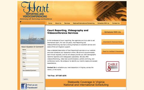 Screenshot of Home Page hartreporting.com - Virginia Court Reporter Serving Richmond, Charlottesville and Harrisonburg Virginia - captured Oct. 2, 2014
