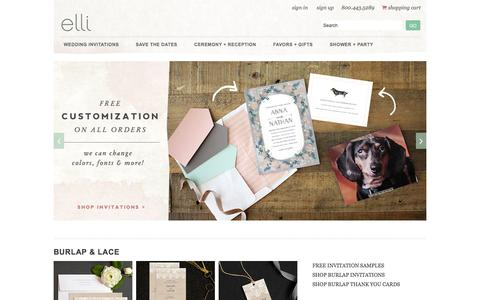 Screenshot of Home Page elli.com - Wedding Invitations and Save the Date Cards by Elli - captured Jan. 6, 2016