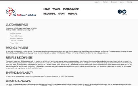 Screenshot of Support Page Terms Page arcosox.com - Customer Service  | The Sox Store - captured Dec. 16, 2016