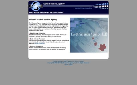 Screenshot of Home Page earthscienceagency.com - Earth Science Agency - Geotechnical Consulting - captured Oct. 1, 2014