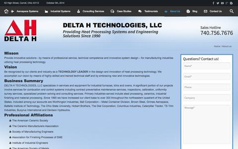Screenshot of About Page delta-h.com - About DELTA H SYSTEMS, INC., our Mission Statement and key personnel. - captured Oct. 5, 2014
