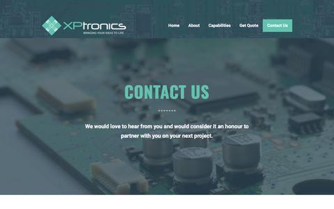 Screenshot of Contact Page xptronicsinc.com - Contact Us - XPtronics - captured July 26, 2018