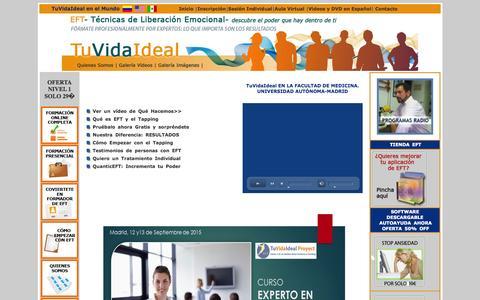 Screenshot of Home Page tuvidaideal.com - LOS MEJORES CURSOS PROFESIONALES DE EFT ONLINE | DESDE 2005 | - captured Sept. 2, 2015