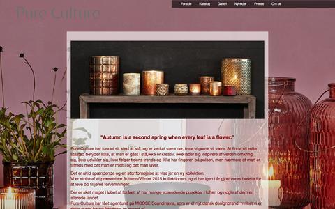 Screenshot of Home Page pureculture.dk - Forside | Forside - captured Dec. 14, 2015