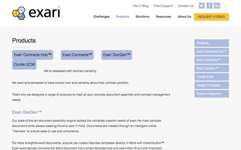 Screenshot of Products Page exari.com - Contract Management & Document Products | Exari - captured Dec. 18, 2016