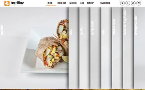 Screenshot of Menu Page tortillazgrill.com - Tortillaz Menu - TortillasTortillas - captured Nov. 4, 2014