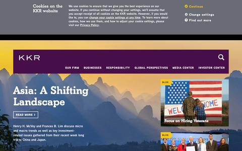 Screenshot of Home Page kkr.com - KKR - captured Oct. 15, 2015