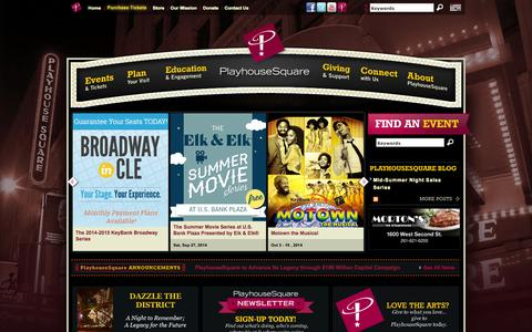 Screenshot of Home Page playhousesquare.org - PlayhouseSquare :: Home - captured Sept. 17, 2014