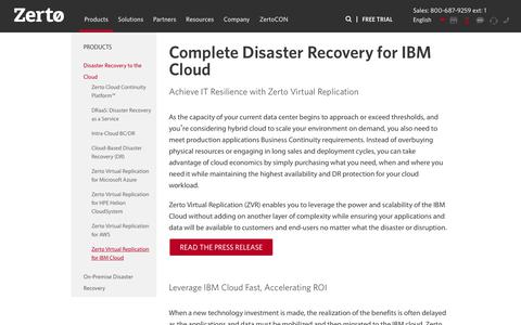 Complete Disaster Recovery for IBM Cloud | Zerto