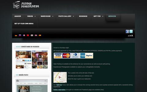 Screenshot of Services Page asadordonostiarra.com - SERVICES - captured Oct. 4, 2014
