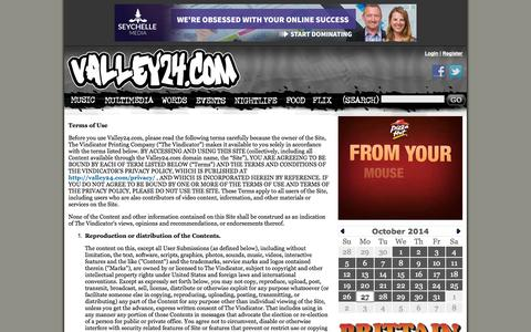 Screenshot of Terms Page valley24.com - Terms of Service and Use | Valley24.com | Entertainment, Local Music, Bands in Youngstown, Warren, Boardman, Austintown, Niles Ohio, Mahoning Valley - captured Oct. 27, 2014