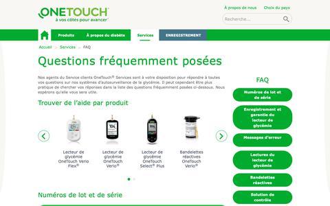Screenshot of FAQ Page gammeonetouch.fr - Questions fréquemment posées | OneTouch® - captured Oct. 22, 2018