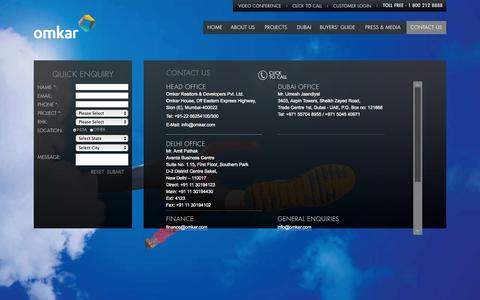 Screenshot of Contact Page omkar.com - Contact us for Premium Residential Homes in Mumbai  - Omkar Realtors - captured Sept. 23, 2014