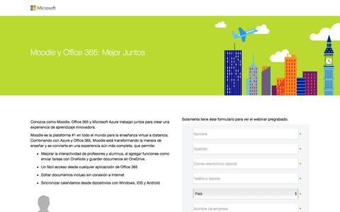 Screenshot of Landing Page microsoft.com - Moodle y Office 365: Mejor Juntos - captured Sept. 26, 2016