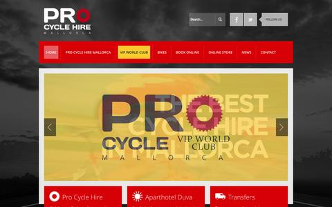 Screenshot of Home Page procyclehire.com - Pro Cycle Hire :: Bike Hire Mallorca - The original and still the best professional cycle hire service for Mallorca! - captured Sept. 10, 2015