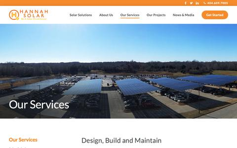 Screenshot of Services Page hannahsolar.com - Our Services - Hannah Solar - captured March 12, 2019