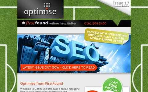 Screenshot of Home Page optimise-firstfound.co.uk - FirstFound - Optimise Magazine - FirstFound's Quarterly Magazine - captured Sept. 23, 2014