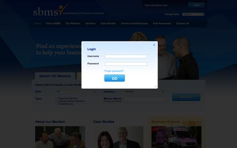 Screenshot of Home Page Login Page sbms.org.au - Small Business Mentoring Service - captured Oct. 9, 2014
