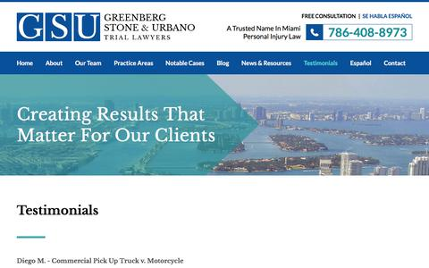 Screenshot of Testimonials Page sgglaw.com - Testimonials | Greenberg Stone & Urbano | Miami, Florida - captured April 10, 2018