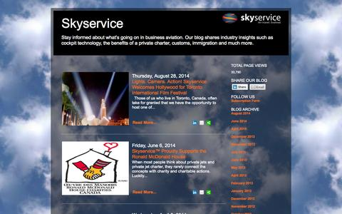 Screenshot of Blog skyservice.com - Skyservice - Stay informed about what's going on in business aviation. Our blog shares industry insights such as cockpit technology, the benefits of a private charter, customs, immigration and much more. - captured Oct. 6, 2014