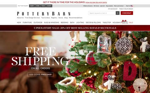 Screenshot of Home Page potterybarn.com - Home Furnishings, Home Decor, Outdoor Furniture & Modern Furniture | Pottery Barn - captured Dec. 14, 2015