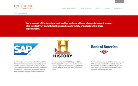 Screenshot of Case Studies Page redthreadproductions.com - Case Studies - Red Thread Production - captured Oct. 7, 2014