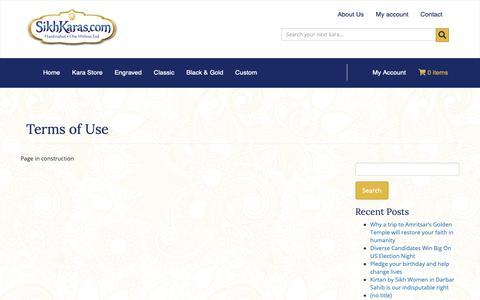 Screenshot of Terms Page sikhkaras.com - Terms of Use – SikhKaras - captured Oct. 19, 2018