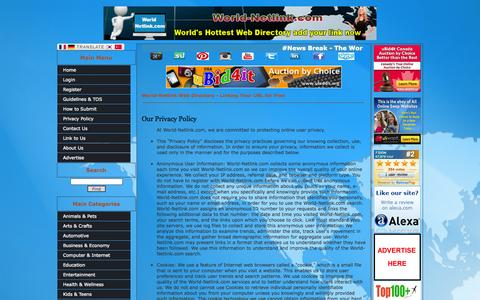 Screenshot of Privacy Page world-netlink.com - Our Privacy Policy - captured Oct. 26, 2014