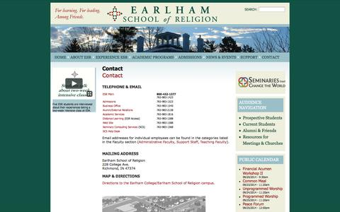 Screenshot of Contact Page earlham.edu - Contact | Earlham School of Religion - captured Sept. 23, 2014