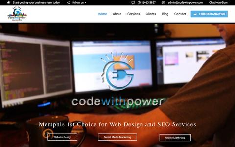 Screenshot of Home Page codewithpower.com - Top Website Design Company • Memphis Online Marketing Firm - captured March 28, 2016