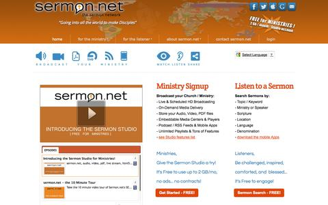 Screenshot of Home Page thesermonnetwork.com - sermon.net - media storage and delivery for church or ministry. Live and on-demand preaching / sermon streaming audio, video, PDF - captured Sept. 24, 2014