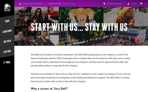 Screenshot of Jobs Page tacobell.com - Taco Bell Careers - Taco Bell - captured Jan. 31, 2017