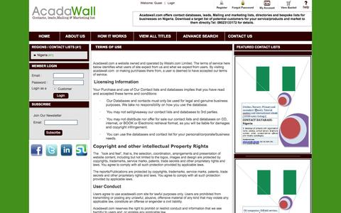 Screenshot of Terms Page acadawall.com - Acadawall | Contact databases, leads, mailing and marketing list| Terms - captured Nov. 20, 2016