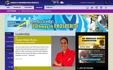 Screenshot of Team Page jis.gov.jm - Leadership - Jamaica Information Service - captured Sept. 18, 2014