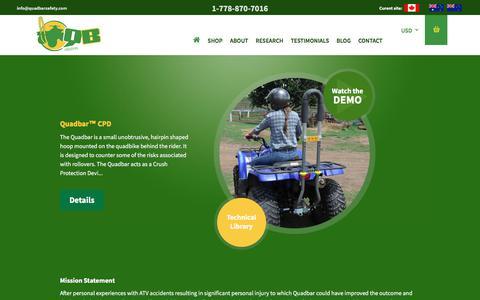 Screenshot of Home Page quadbarsafety.com - Quadbar: ATV Safety Equipment - captured July 18, 2018
