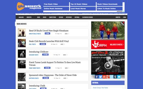 Screenshot of Press Page glasswerk.co.uk - News Archives - Glasswerk Magazine - captured Sept. 18, 2014